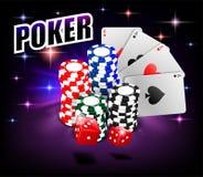 Kasino-spielendes Pokerhintergrunddesign Pokerfahne mit Chips, Spielkarten und Würfeln On-line-Kasino-Fahne auf glänzendem stock abbildung