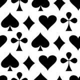 Kasino-spielendes Thema Nahtloses Muster mit Spielkarteklagen Pokerkartenklagen - Herzen, Clubs, Spaten und Diamanten Vektor lizenzfreie abbildung