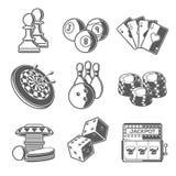Kasino-Sport-und Freizeit-Spiel-Ikonen (Schach, Billard, Poker, Pfeile, Bowlingspiel, spielende Chips, Flipperautomat, Würfel und Stockfoto