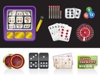 Kasino und spielende Hilfsmittelikonen Stockfotografie