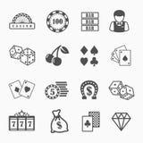 Kasino und spielende Ikonen eingestellt Lizenzfreies Stockbild