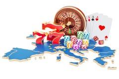 Kasino und spielende Industrie im EU-Konzept, Wiedergabe 3D Lizenzfreies Stockfoto