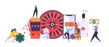 Kasino und spielendes Konzept Leute-Charaktere, die in den Spielen des Vermögens spielen Mann-und Frauen-Spiel-Schürhaken, Roulet vektor abbildung