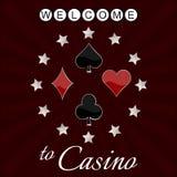 Kasinobakgrund med kortsymbol och stjärnor Royaltyfri Bild