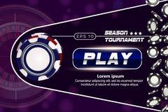 Kasinobakgrund med pokerchiper Online-design för begrepp för kasinopokertabell Vektorillustration för kasino 3d kasino royaltyfri illustrationer