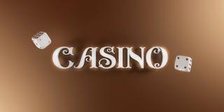 Kasinobakgrund med tärning och kasinot 3d undertecknar Brett baner för online-kasino Bästa sikt av vit tärning och kasinobokstäve stock illustrationer