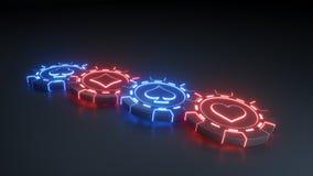 Kasinochip Konzept mit glühenden blauen und roten Neonlichtern auf dem schwarzen Hintergrund - Illustration 3D vektor abbildung