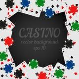 Kasinochiper och spela mörk bakgrund för kortvektor med stället för din text royaltyfri illustrationer