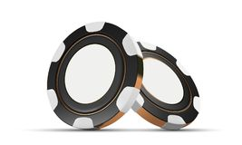 Kasinochiper som isoleras på vit Modiga chiper 3D för kasino Online-kasinobaner Svart realistisk chip Pokerchiper som faller på e vektor illustrationer