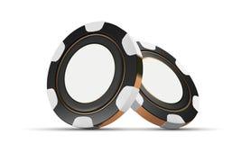 Kasinochips, lokalisiert auf Weiß Chips des Kasinospiels 3D On-line-Kasinofahne Schwarzer realistischer Chip Spielendes Konzept Lizenzfreie Stockfotos