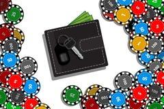 Kasinochips und -hände mit Tablet-Computer stock abbildung
