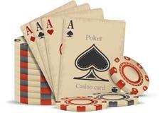 Kasinochips und -karten lizenzfreie abbildung