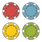 Kasinochipuppsättning som isoleras på en vit bakgrund Färglinje konst modern design Arkivbild