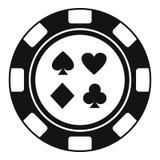 Kasinochipzeichen-Kartenikone, einfache Art vektor abbildung