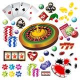 kasinoelementsymboler ställde in vektorn royaltyfri illustrationer