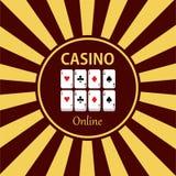 Kasinogestaltungselementikonen Kasinospiele Ace, das c spielt Stockfoto