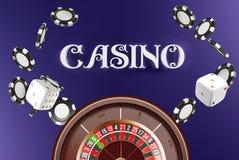 Kasinohintergrundroulettekessel mit Würfeln und Chips On-line-Kasinopokertabellen-Konzeptdesign Draufsicht von weißen Würfeln stock abbildung