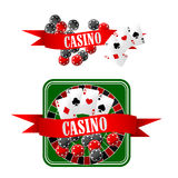 Kasinoikonen mit Würfeln, Chips, Karten und Rouletten Stockbild