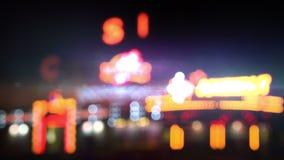 Kasinolichter an der Nachtschleife stock video footage