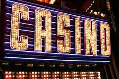 Kasinoneonlampor Fotografering för Bildbyråer