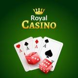 Kasinoplakat-Designschablone Würfel- und Pokerkartenhintergrund vektor abbildung