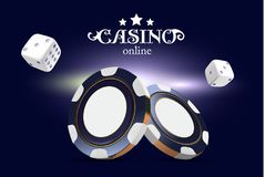 Kasinopokerchiper och tärning Modiga chiper 3D för kasino Online-kasinobaner Blå realistisk chip Dobbleribegrepp, poker vektor illustrationer