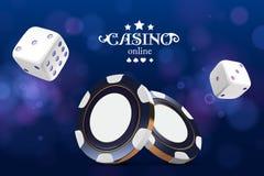 Kasinopokerchips und -würfel Chips des Kasinospiels 3D On-line-Kasinofahne Blauer realistischer Chip Spielendes Konzept, Poker Stockfoto