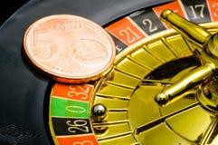 Kasinoroulett euro Arkivfoton