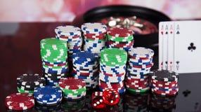Kasinoroulett- och pokerchiper Royaltyfria Foton