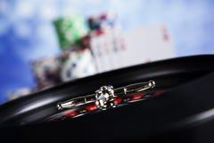Kasinoroulett- och pokerchiper Royaltyfri Fotografi