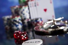 Kasinoroulett- och pokerchiper Royaltyfria Bilder