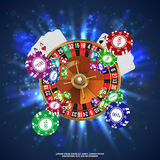 Kasinoroulett som spelar fallande chiper för kort vektor Royaltyfria Bilder