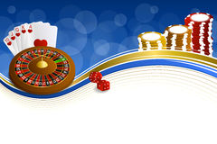 Kasinoroulette des Hintergrundes kardieren abstrakte blaue Goldchipmistillustration Stockfoto