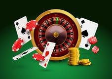 Kasinoroulette mit Chips, realistische spielende Plakatfahne der roten Würfel Kasino Vegas-Vermögensroulettekessel-Designflieger lizenzfreie abbildung