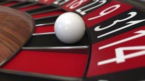 Kasinoroulettekesselball schlägt 31 thirty-one Schwarzes Wiedergabe 3d Stockfotografie