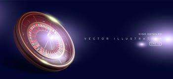 Kasinorouletthjul som isoleras på blå bakgrund realistisk illustration för vektor 3D Online-pokerkasinoroulett stock illustrationer