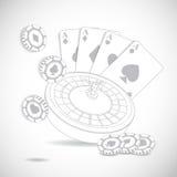 Kasinosammansättning med rouletthjulet Arkivfoton