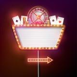 Kasinoschildretrostil mit hellem Rahmen Lizenzfreie Stockfotografie