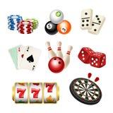 Kasinospielikonen Würfeln rollende Dominopfeile der Spielkarten realistische Illustrationen des Vektors von Spielwerkzeugen lizenzfreie abbildung