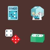 Kasinospielpokerspieler-Symbolblackjack kardiert Roulettespassvogel-Vektorillustration des Geldes gewinnende Lizenzfreies Stockbild