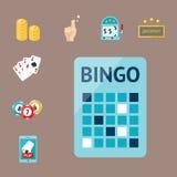 Kasinospielpokerspieler-Symbolblackjack kardiert Roulettespassvogel-Vektorillustration des Geldes gewinnende Lizenzfreies Stockfoto