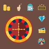 Kasinospielpokerspieler-Symbolblackjack kardiert Roulettespassvogel-Vektorillustration des Geldes gewinnende Stockfotografie