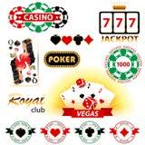 Kasinotecken och emblem Arkivfoton