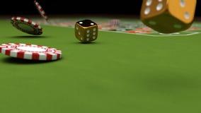 Kasinotemat och att spela chiper och guld tärnar på en dobbeltabell, illustrationen 3d Arkivfoto