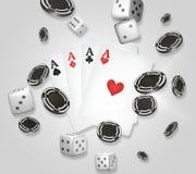 Kasinothema zwei Asse auf schwarzem Hintergrund spielender Poker 3d überträgt Stockfotos