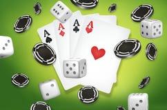 Kasinothema zwei Asse auf schwarzem Hintergrund spielender Poker 3d überträgt Lizenzfreie Stockbilder