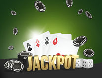 Kasinothema zwei Asse auf schwarzem Hintergrund spielender Poker 3d überträgt Stockfotografie