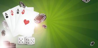 Kasinothema zwei Asse auf schwarzem Hintergrund spielender Poker 3d überträgt Lizenzfreies Stockfoto