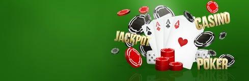 Kasinothema zwei Asse auf schwarzem Hintergrund spielender Poker 3d überträgt Stockbild
