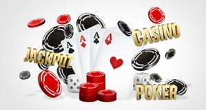 Kasinothema zwei Asse auf schwarzem Hintergrund spielender Poker 3d überträgt Lizenzfreie Stockfotos